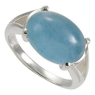 Sterling Silver Milky Cabochon Oval Shape Aquamarine Ring