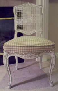 Gorgeous Shabby Chic French Louis White Cane Back Dining Chair