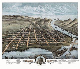 Grand Haven Birds Eye View Map 1874 Michigan Ottawa County Grand