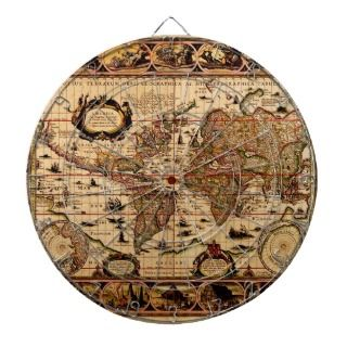 Vintage Old World Map Designer Dart Board