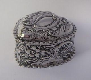 Sterling Silver Heart Shaped Trinket Box Birmingham 1895