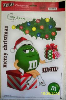 2010 M Ms MISS GREEN Tree M M Ms Christmas WINDOW CLINGS 6 piece sheet