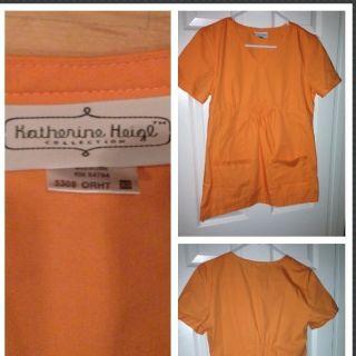 Katherine Heigl Peaches Brand Scrub Top Orange XS Fits Size Small Also
