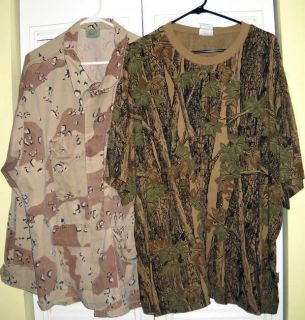 Lot of Two Camo Shirts 3XL Reg Pre Owned 1 s s Trebark Crew Tee 1 L S