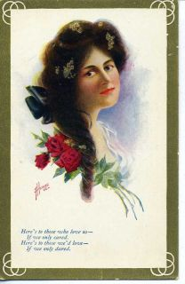 Vintage Postcard Artist Signed F Heinze Pretty Woman
