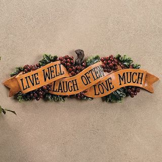 Grapes Live Love Laugh Wall Sign Plaque Decor Hanging Kitchen 16 Long