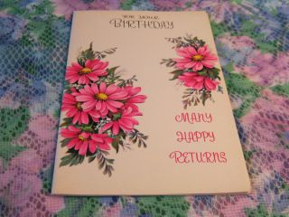 Vintage Greeting Card Happy Birthday Fantasy Cards Pink and Yellow