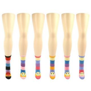 Cotton Happy Face Striped Colorful Crew Dress Casual Socks Set