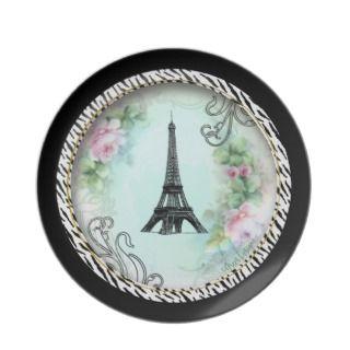 Paris Eiffel ower & Pink Roses Dinner Plae