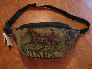 Harness Horse Racing High Wheel Sulky Tapestry Waist Pack Bag NWT