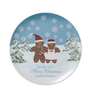 Gingerbread Cookie Personalized Family Christmas Plates