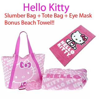 Hello Kitty Slumber Bag +Tote Bag Sleeping Party Bedding + Beach Towel