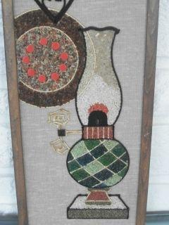 Mid Century 1960s Mosaic Gravel Art Wood Framed Hanging Wall Plaque