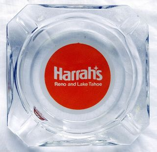 Harrahs Reno Lake Tahoe Vintage Clear Glass Square Orange Ashtray