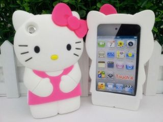 Hello Kitty HotPink Rubber Silicone Case Cover For iPod Touch 4 4th