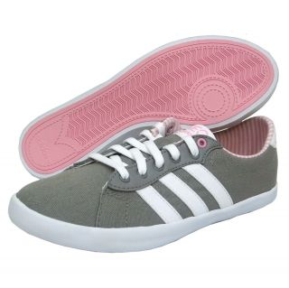 Adidas Womens Neo Qt Court Running Tennis Shoes Gray White Pink