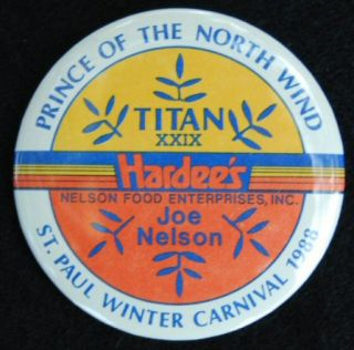 Old HARDEES Button   St. Paul Winter Carnival   Fast Food