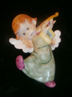 Vintage Holiday Angel Cherub with Violin Plaque Wall Hanging Italy