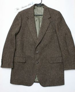 Vtg Harris Tweed Brown Herringbone Blazer Sport Coat Jacket Sz 46 EX L