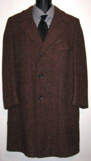 Harris Tweed Vintage Long Dress Reddish Brown Wool Over Coat Mens Size
