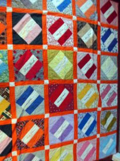 Vintage Friendship Quilt Hand Stitch Novelty Fabric Emb Signatures