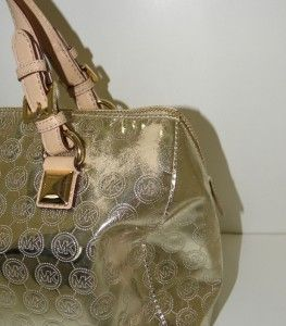 Michael Kors Large Grayson Pale Gold Mirror Signature Logo Satchel