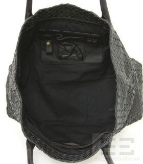Helen Kaminski Black Woven Leather Camile Tote Bag