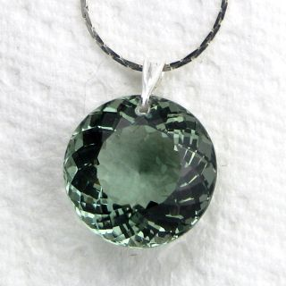 Green Amethyst Gemstone Pendant Necklace Sterling Silver 21 5cts Round
