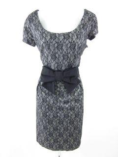Helene Berman Gray Black Lace Cap Sleeve Dress Sz 10