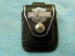 Zippo Lighter Pouch Case Harley Davidson Black Leather With Belt Loop