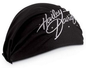 Harley Davidson Womens Black Crystal Embroidered Headwrap