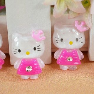 Resin Glitter Hello Kitty Flat back appliques Cabochon Buttons T74