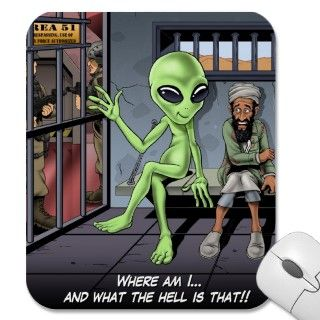 Osama Bin Laden locked up with an alien in military base Area 51