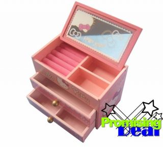 Hello Kitty Wooden Jewelry Box Cosmetic Case Pink