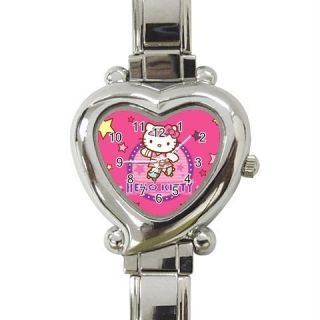 Italian Heart Charm Hello Kitty Roller Quartz Watch New