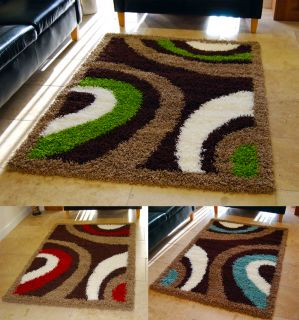 Thick 5cm Pile Brown Beige Ivory Lime Green Red Blue Shaggy Rug