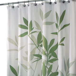 New InterDesign 35630 Leaves Fabric Shower Bath Curtain Green