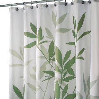 New InterDesign 35630 Leaves Fabric Shower Bath Curtain Green
