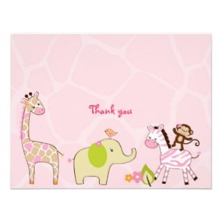 Safari Girl Jungle Animal Thank You Note Cards Personalized