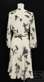 Hayden Harnett Cream Grey Silk Print 3 4 Sleeve Wrap Dress Size Small