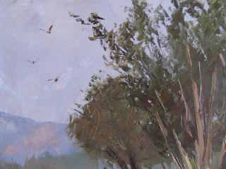 Oil Painting Hal Penrod w Stetson Ave Hemet CA Birds 9 x 12