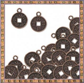Copper Oriental Coin Charms 10mm Plus Loop Steampunk Drops