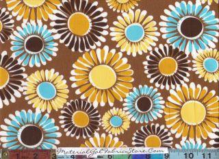 Kaufman Fabric ~ Organic Cotton Blue Brown Flower