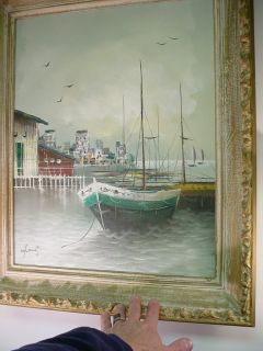 Vintage Sailboat Harbor Original Canvas Oil Painting Ocean Bay Dock