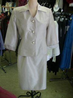 Henry Lee Petites sz 8p Champagne 2 piece dress suit wedding mothers