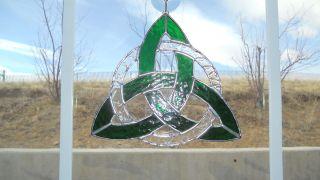 Celtic Knot Stained Glass Wicca Irish Suncatcher Green