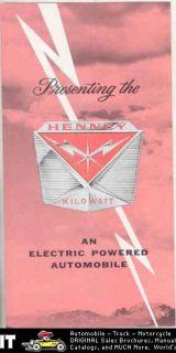 1962 Henney Kilowatt Renault Dauphine Brochure Factory Letter