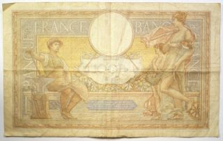 1939 Banque de France 100 Cent Francs Note Fine French WW II Paper