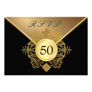 50.o aniversario RSVP del cumpleaños del negro for Anuncio de