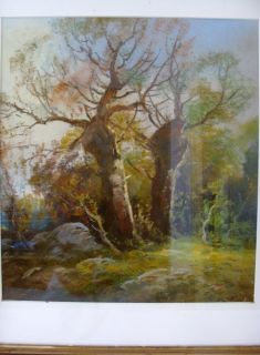 Antique William Chandler Pastel Landscape Painting Ornate Victorian